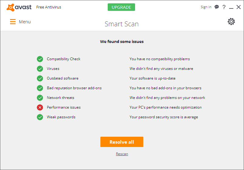 avast not showing scan results